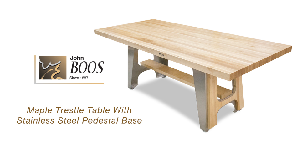 New John Boos Maple Trestle Table With Stainless Steel
