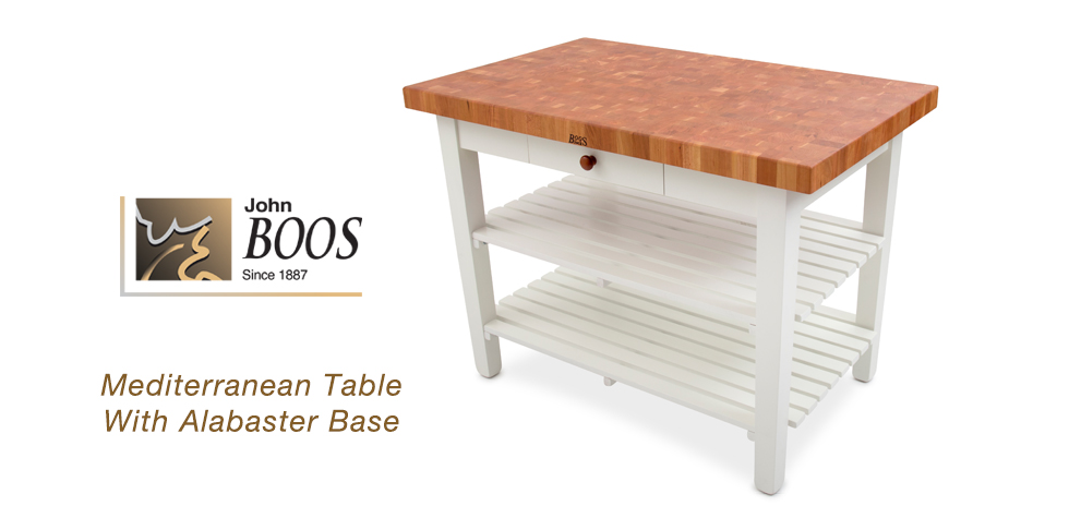 NEW John Boos Mediterranean Table With Alabaster Base