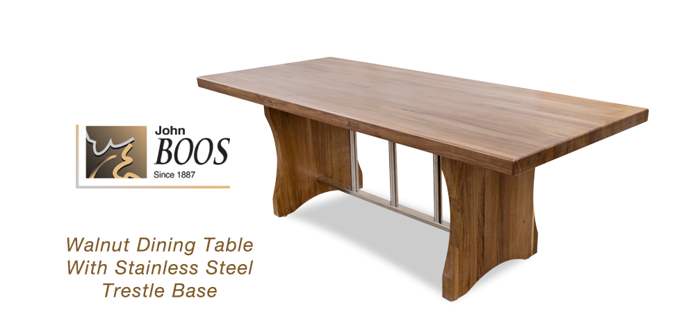 New John Boos Walnut Dining Table With Stainless Steel