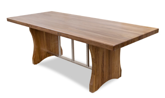 New Walnut Florence Table With Stainless Steel Trestle Base