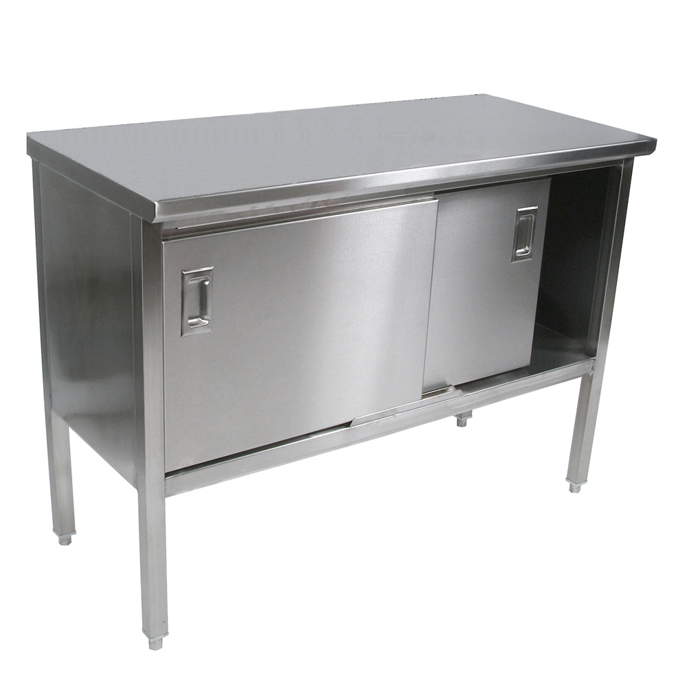 Stainless Steel Enclosed Work Tables: Flat Top - Sliding Doors ...