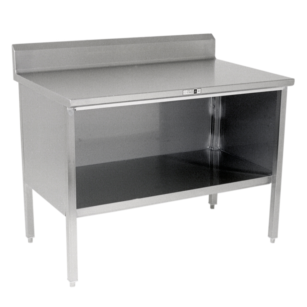 kitchen island table stainless steel enclosed work table 6 quot rear riser open 13322