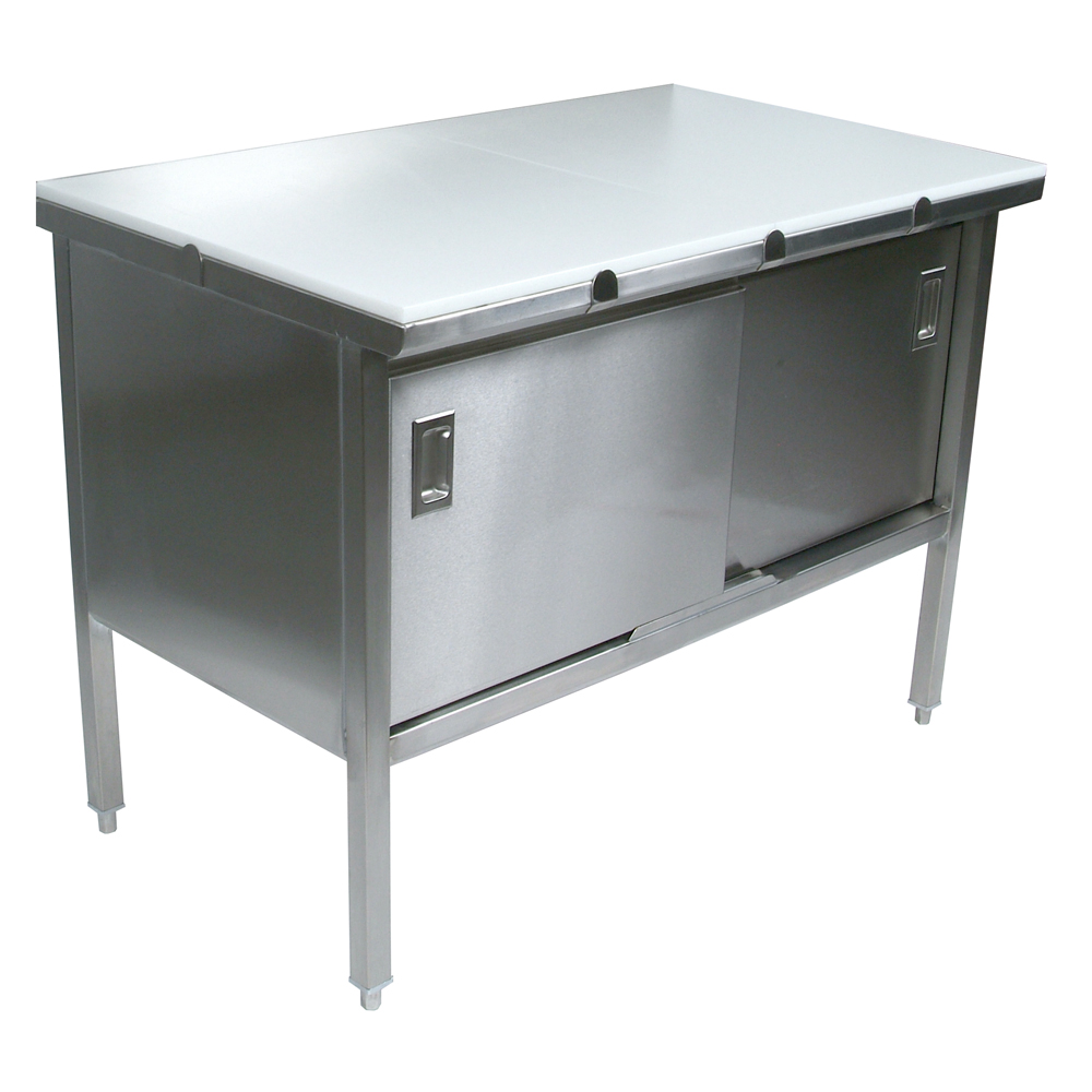 Stainless Steel Enclosed Work Table Poly Flat Top Sliding Doors - Enclosed stainless steel work table