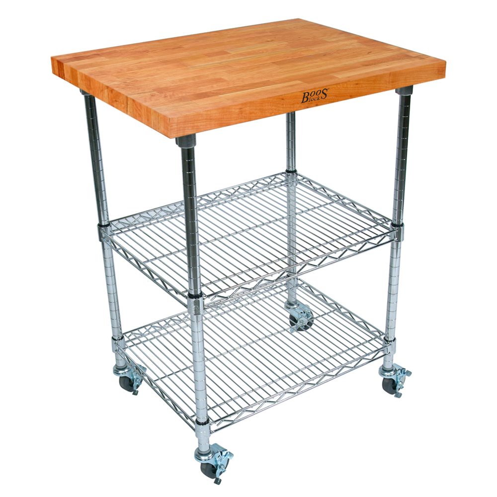 Boos Blocks Met Cwc Metropolitan Kitchen Cart Cherry Blended Top With 2 Chrome Adjule