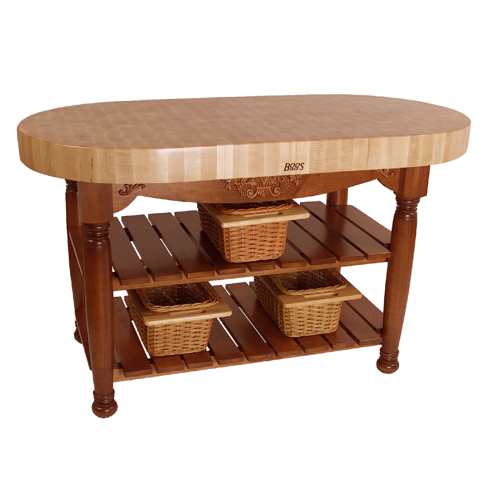 kitchen islands & tables: oval maple top kitchen island with