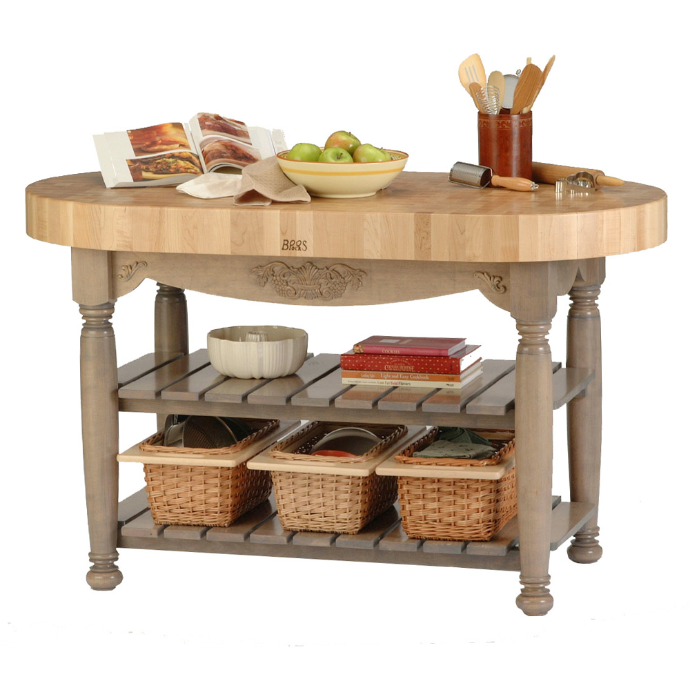 Kitchen Islands & Tables: Oval Maple Top Kitchen Island With ...