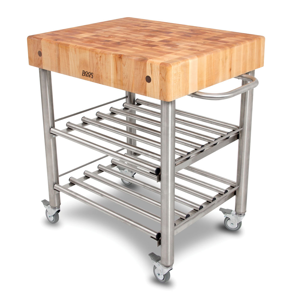 Boos Blocks CUCD WC Maple Cucina Du0027Amico Wine Cart, Maple End Grain