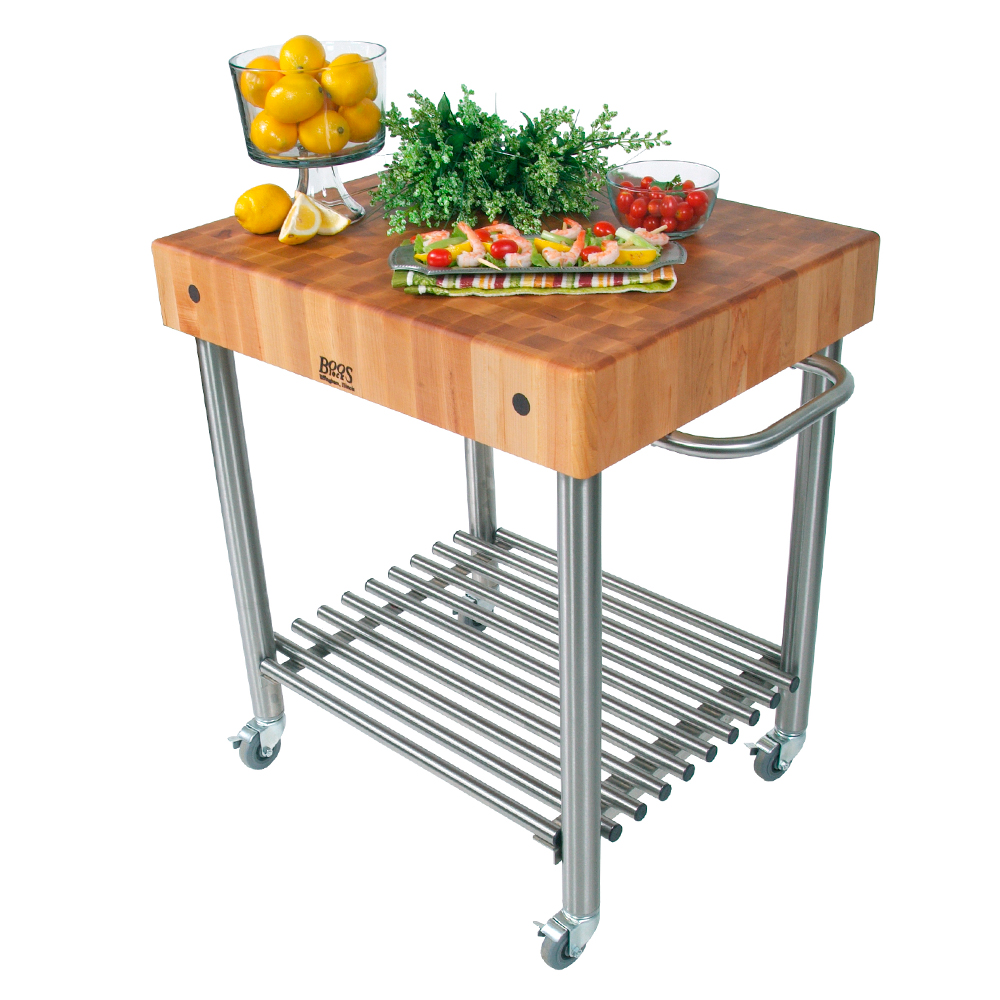 Kitchen carts cucina d 39 amico maple top w towel bar legs shelf locking casters - D amico cucina ...