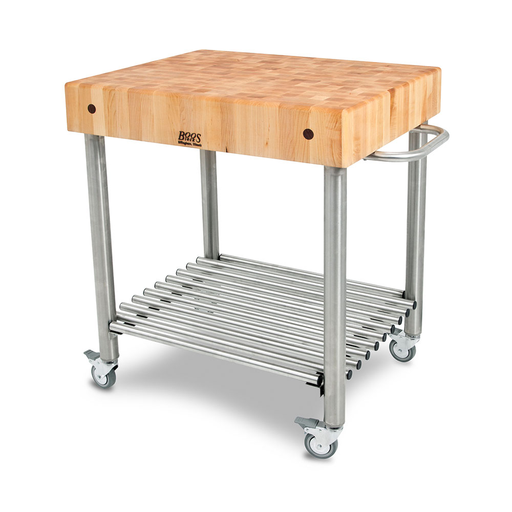 Kitchen Carts Cucina D Amico Maple Top W Towel Bar Legs Shelf Locking Casters