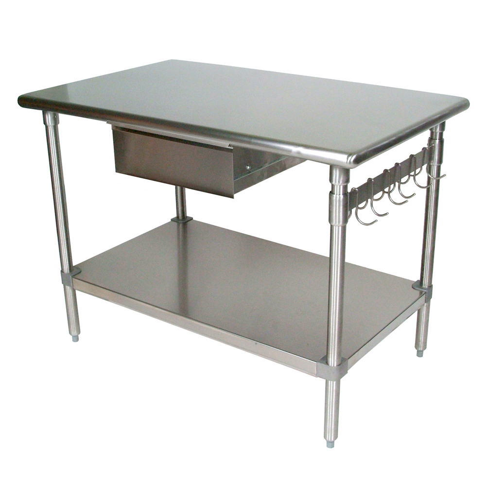 Kitchen islands tables stainless steel kitchen work table with bullnosed top drawer - Stainless kitchen tables ...