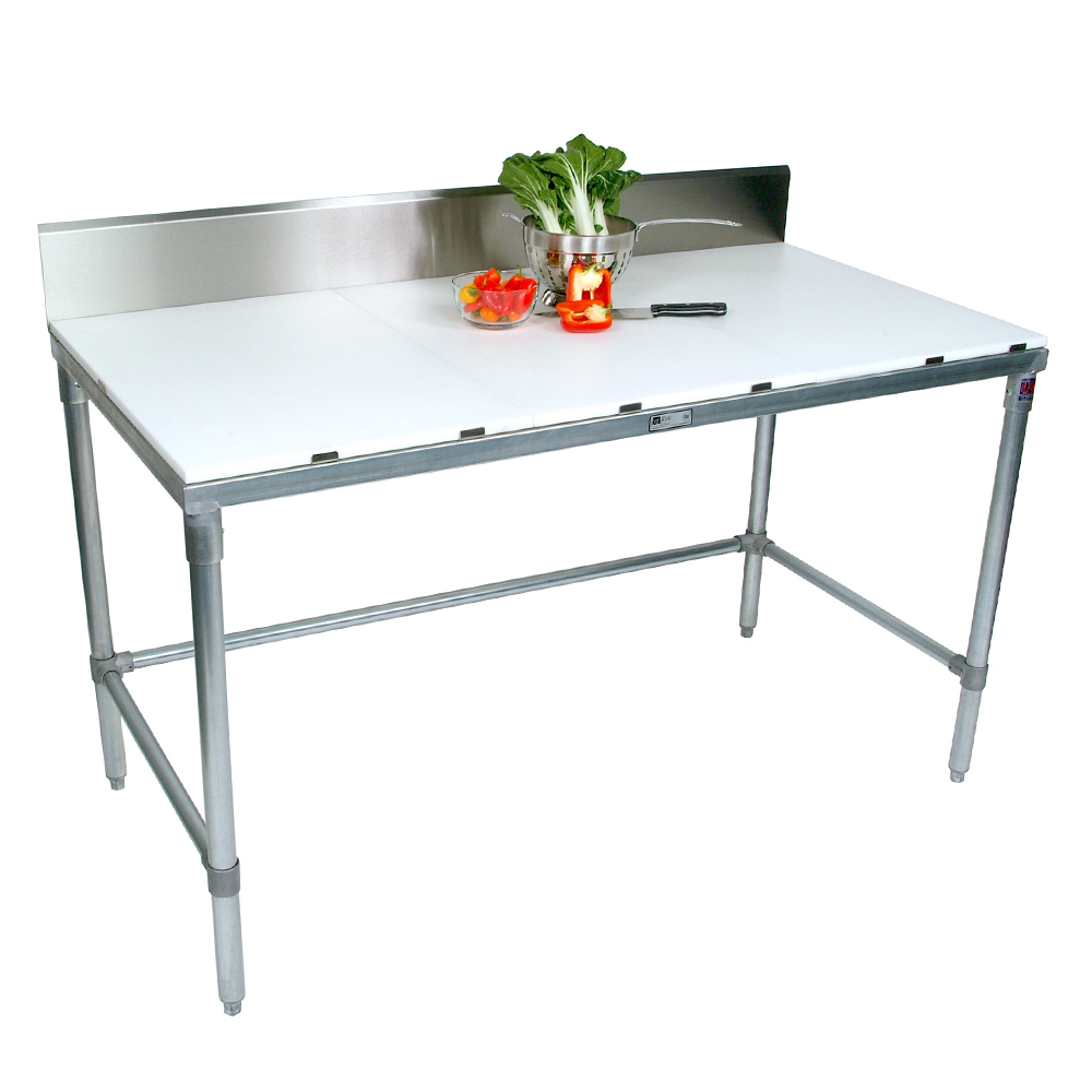 Poly Top Stainless Steel Work Table M Removable Backsplash - Metal butcher table