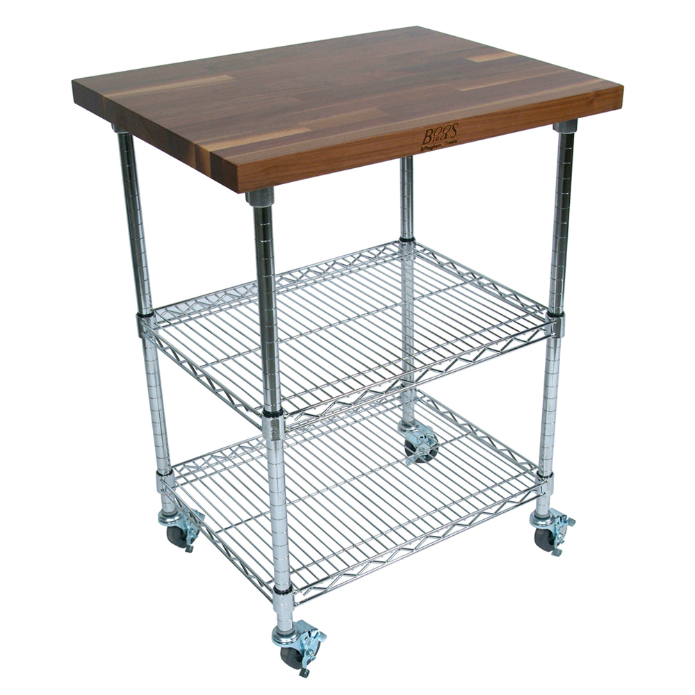 Kitchen Carts Metropolitan Wire Cart Walnut Top Shelves Locking Casters