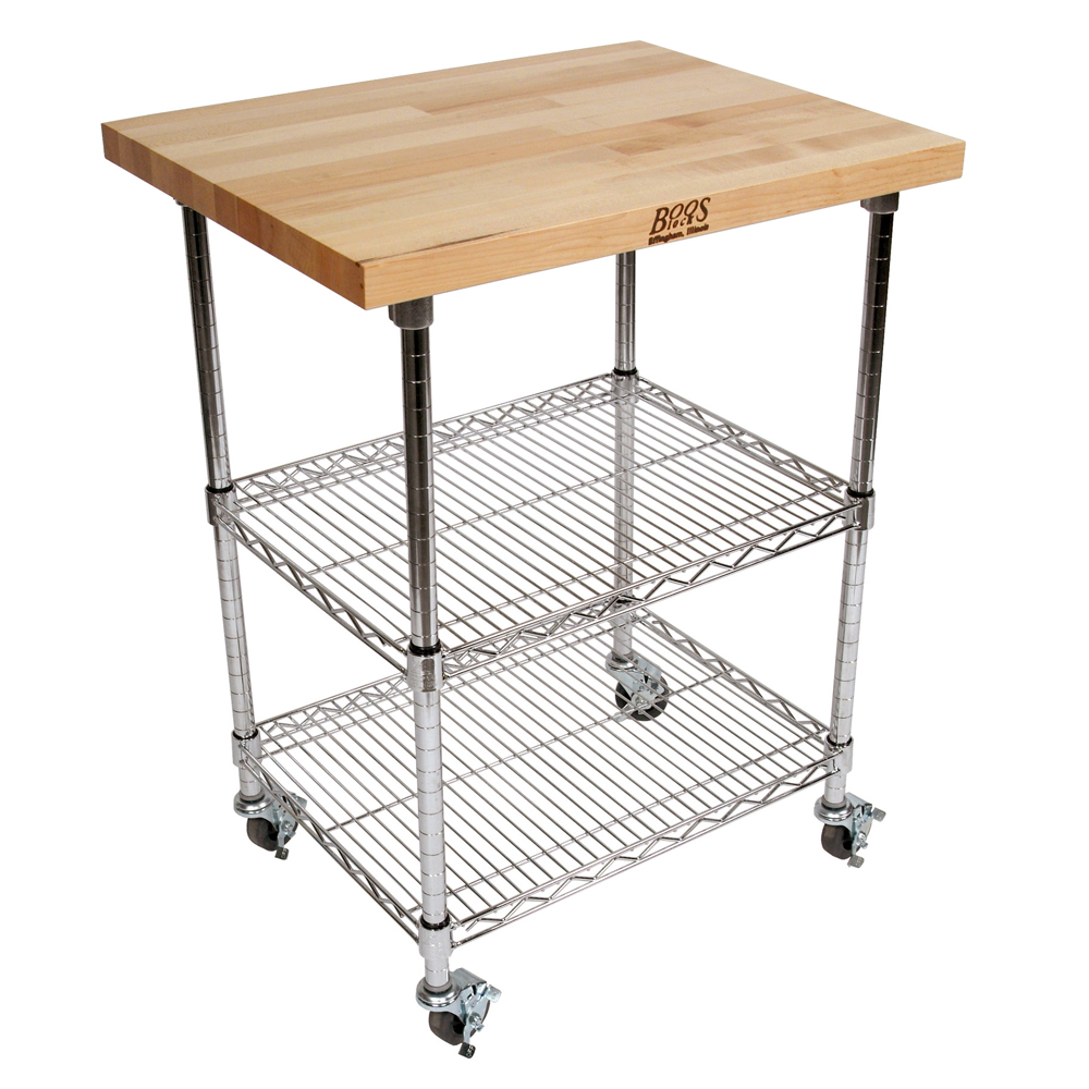Kitchen Carts Metropolitan Wire Cart Maple Top W