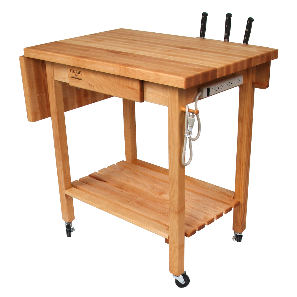 Delightful Boos Blocks QCL Deluxe Culi Cart, Maple Edge Grain Top With 12