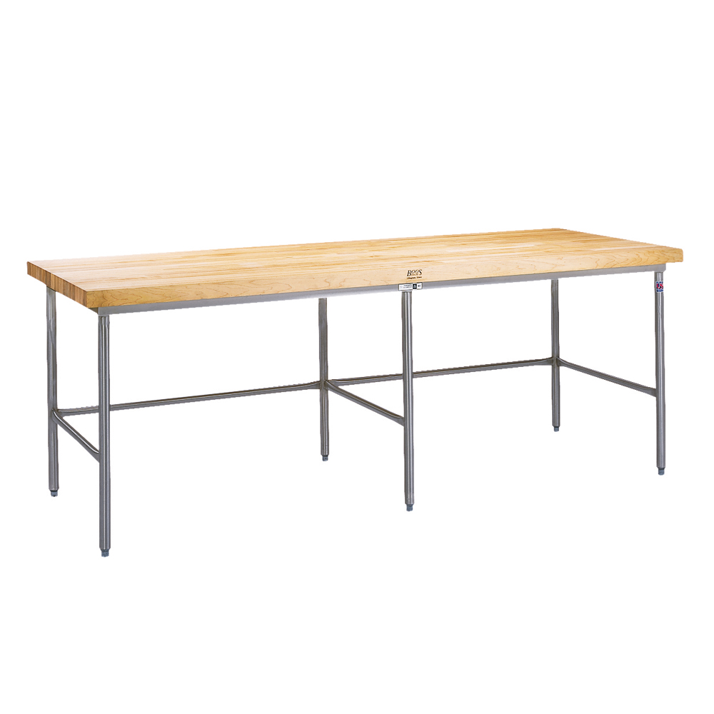 Bakers Work Table Maple Top Oil Finish For SBOS Frame - Stainless steel table with butcher block top