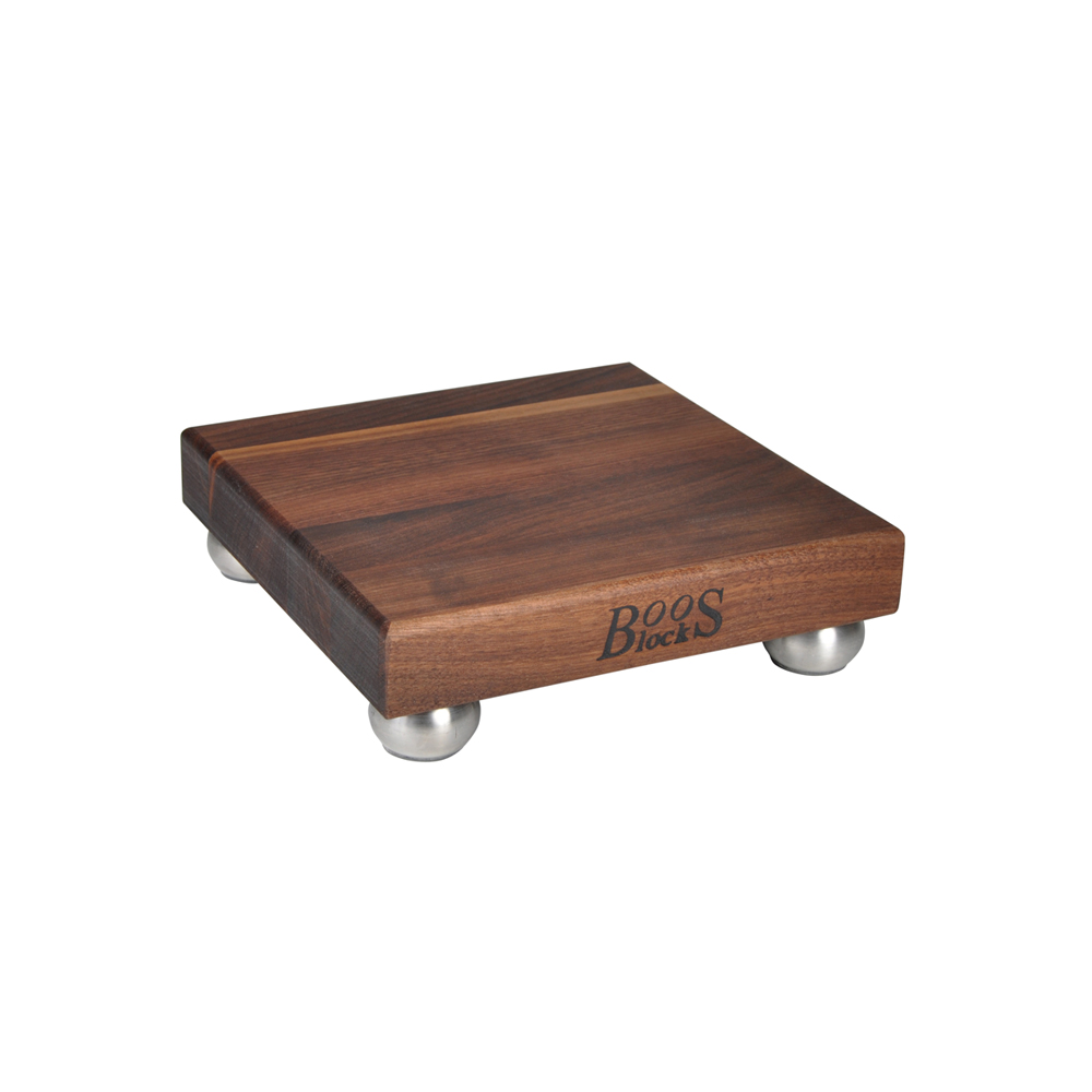 Boos Blocks Square Walnut Cutting Boards With Stainless Steel Bun Feet