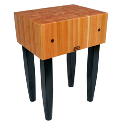 Boos Blocks RN-LB Block, Traditional Cherry Butcher Block With Four Tapered Black Painted Pencil Legs, 10