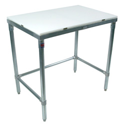 Economy John Boos Poly Top Stainless Steel Work Table