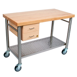Boos Blocks CUCIC Cucina Magnifico Kitchen Cart, Maple Top & 2 Dovetalied Drawers, Stainless Steel Tube Legs & Towel Bars, Stainless Steel Lower Shelf, Locking Casters & Electrical Outlet Strip