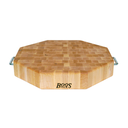 Boos Blocks Octagonal Maple End Grain Chopping Block With Stainless Steel Handles