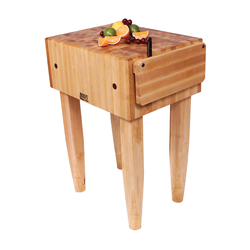 Boos Blocks PCA Block, Traditional Maple Butcher Block With Maple Knife Shield & Four Tapered Pencil Legs, 10