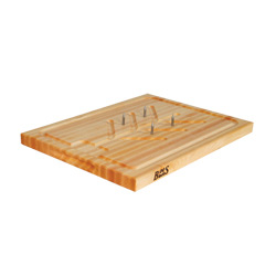 Boos Blocks Maple Slicer Board, Reversible Cutting Board With Grooves, Reservoir, and Removable Pins
