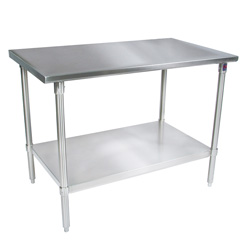 ... Stainless Steel Work Table Flat Top   Galvanized Base And Shelf