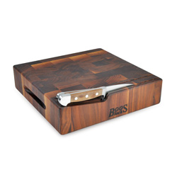 Boos Blocks Walnut End Grain Cheese Board With Hand Grips & Horizontal Slots For Knives