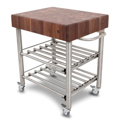 Boos Blocks WAL-CUCD-WC Walnut Cucinba D'Amico Wine Cart, Walnut End Grain Top With Stainless Steel Tube Legs, Towel Bar & Double Shelf Wine Rack. Locking Casters