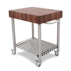 Boos Blocks WAL-CUCD Walnut Cucina D'Amico Kitchen Cart, Walnut End Grain Top With Stainless Steel Tube Legs, Towel Bar & Tube Shelf, Locking Casters