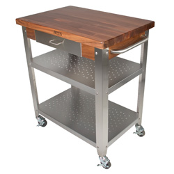 Boos Blocks WAL-CUCE Walnut Cucina Elegante Kitchen Cart, Walnut Edge Grain Top & Aprons, Dovetailed Utensil Drawer With Stainless Steel Front, Stainless Steel Legs, Towel Bar, 2 Shelves & Locking Casters