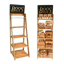 Boos Blocks Solid Maple Cutting Board Display Rack, Choice Of 3 Or 5 Display Shelves, Boos Block Signage Included