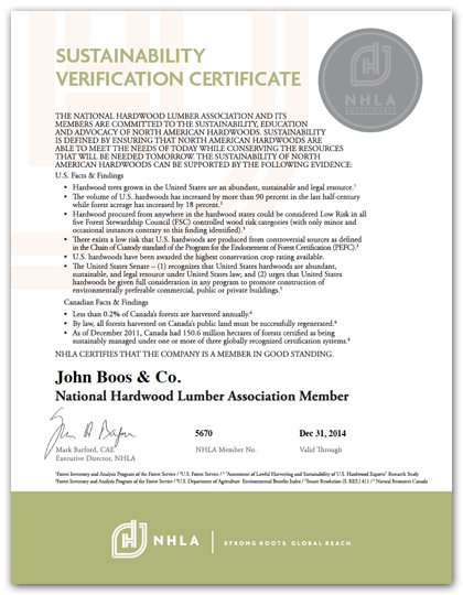 John Boos & Co - NHLA Sustainability Verification Certificate